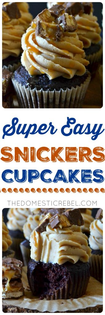 Super Easy Snickers Cupcakes collage