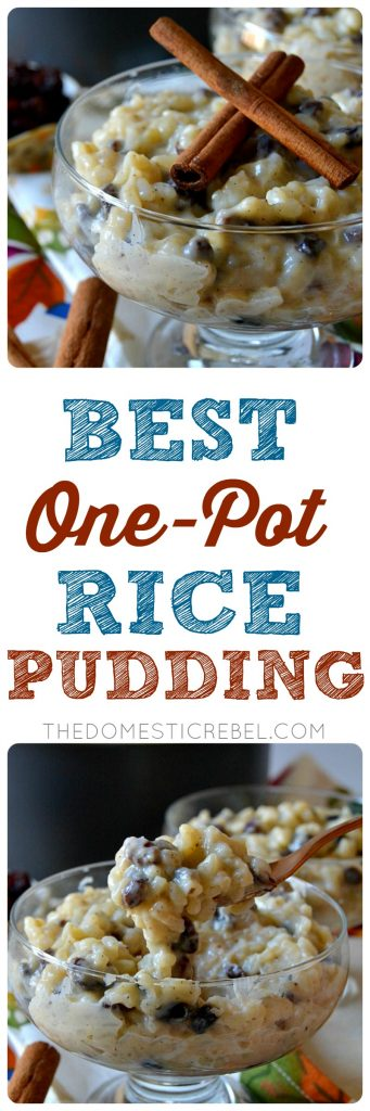 This is the BEST recipe for a one-pot Rice Pudding! Ultra creamy, silky smooth and super decadent, this cozy rice pudding is flavored with aromatic vanilla bean and warm cinnamon spices. Perfect and comforting!
