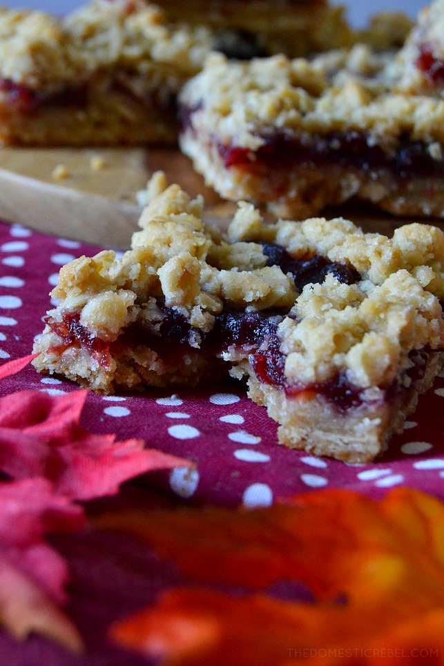 These Cranberry Crumble Bars combine a thick, buttery, oatmeal and brown sugar base and streusel that's filled with tart, tangy and sweet cranberry filling! Soft and chewy, they're great for using up leftover cranberry sauce and they come together in a jiffy!