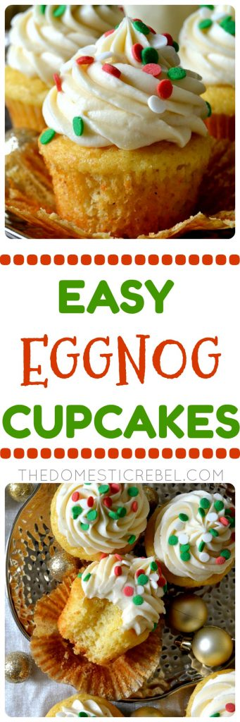 These Easy Eggnog Cupcakes have a simple shortcut but they're PACKED with creamy, buttery, rich eggnog flavor! Moist, fluffy eggnog and nutmeg-spiced cupcakes topped with a sinful eggnog buttercream. So simple, fast, and perfect for any eggnog lover!
