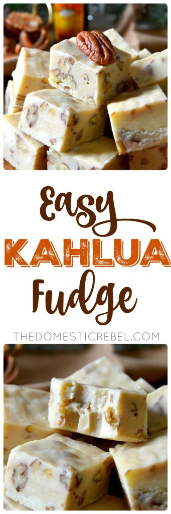 This Easy Kahlua Fudge is a simple recipe you'll pass down for generations! Rich, creamy, chewy and soft, it's made with sweet white chocolate, crunchy toasted pecans and decadent Kahlua. Makes a ton and is great for gifting or feeding a crowd!