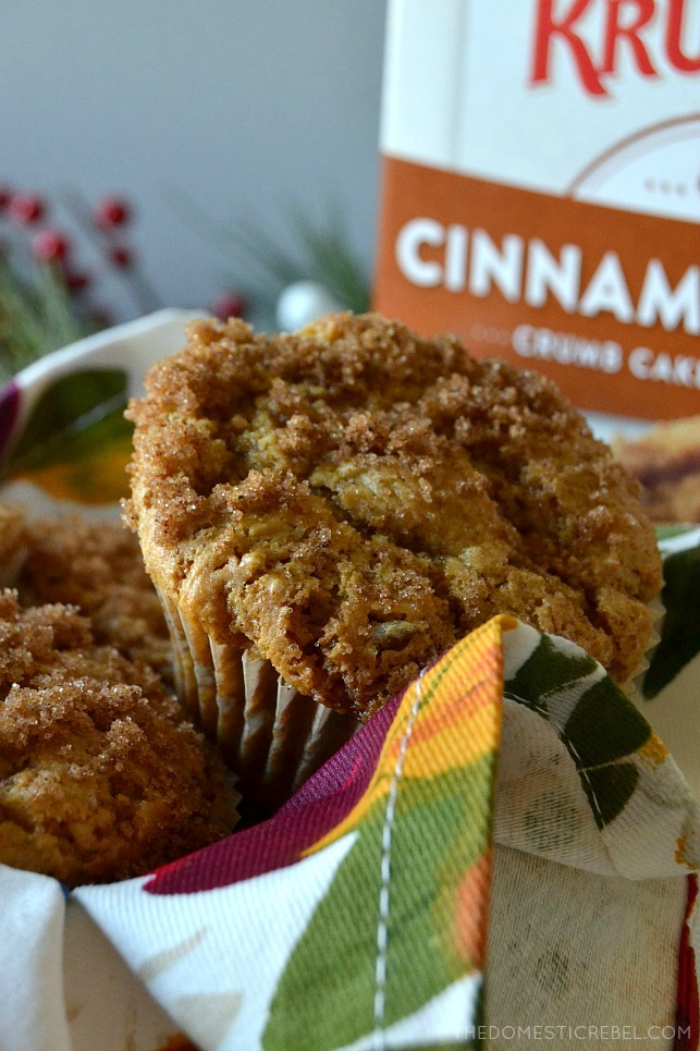 Close up of one gingerbread crumb muffin