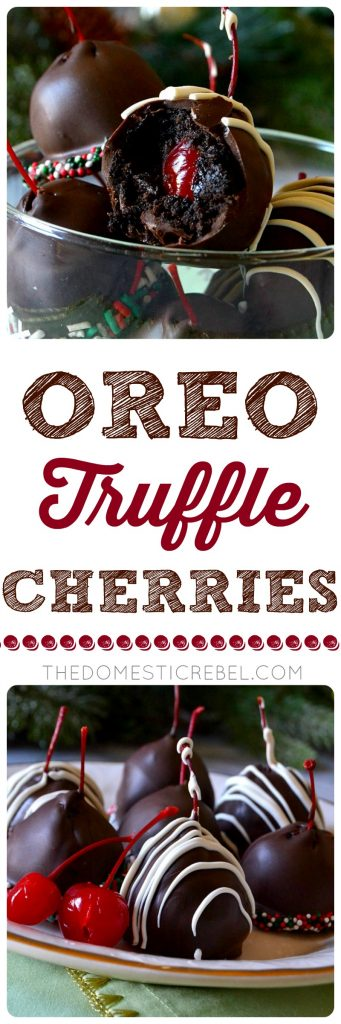 These OREO TRUFFLE CHERRIES are a fun twist on a classic Oreo truffle! Rich, no-bake, EASY Oreo truffles wrapped around a juicy maraschino cherry and then enrobed in sweet milk chocolate. Decorate or drizzle however you'd like! Quick, simple, no-bake treat for the holidays!