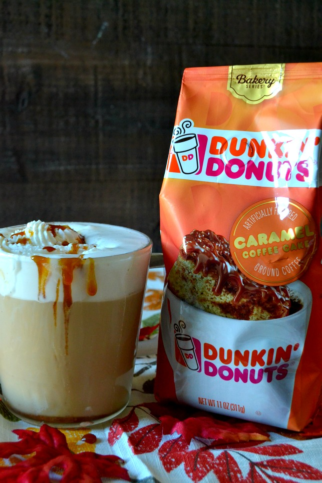 Caramel Brulee Latte next to Dunkin Donuts Caramel Coffee Cake coffee bag