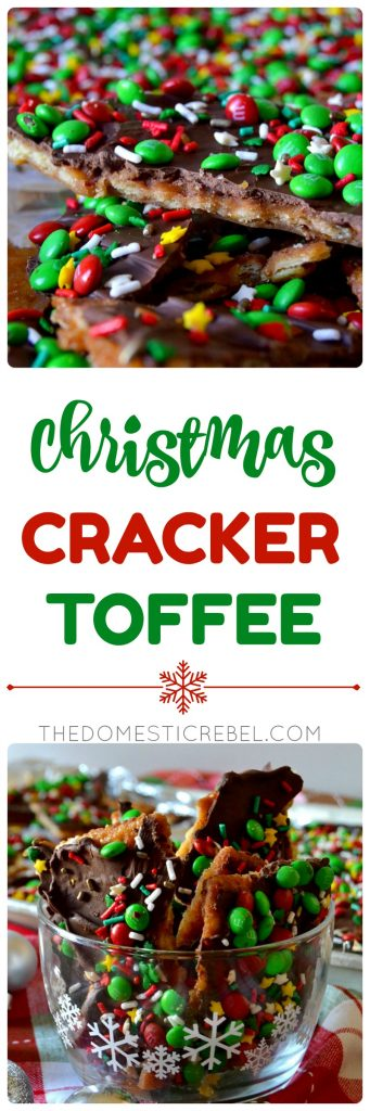 Christmas Cracker Toffee is buttery, chocolaty, gooey, crispy toffee made with salted crackers, a golden toffee mixture, chocolate, and seasonal candies! Super simple, comes together in minutes and is so addictive and irresistible, some people call it Christmas Crack!