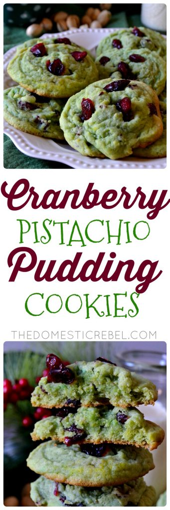 Cranberry Pistachio Pudding Cookies collage
