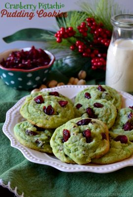 These Cranberry Pistachio Pudding Cookies are so soft, chewy, and EASY! No chilling required, from dough to oven-baked in under 15 minutes. Tart, chewy cranberries, soft and nutty pistachio cookies. So festive and fun!