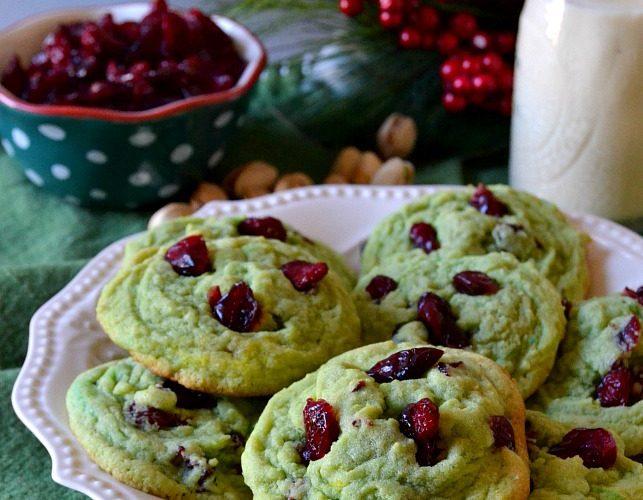 Cranberry Pistachio Pudding Cookies