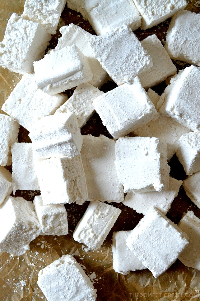 These Perfect and Easy Homemade Vanilla Bean Marshmallows are so soft, pillowy, plush and gooey with real flecks of aromatic vanilla beans in every bite! Surprisingly simple to make and they yield a bunch, perfect for gifting!
