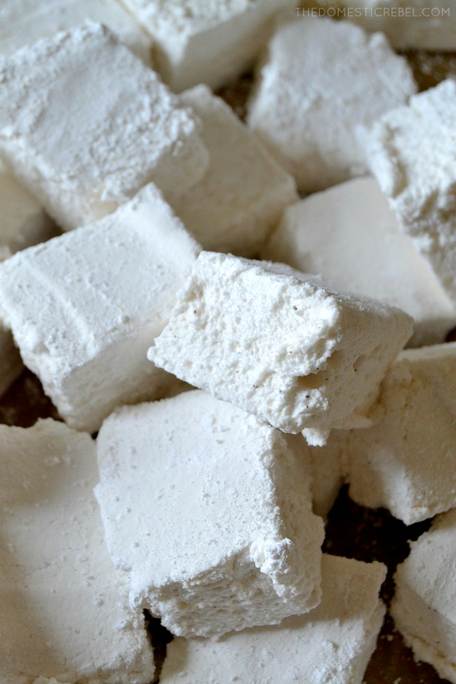 Close-up of a stack of fluffy homemade marshmallows