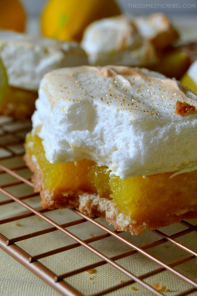These Shortcut Lemon Meringue Pie Bars are easy, flavorful, gooey and bursting with zesty lemon flavor and a mile-high sweetened meringue. So simple and fabulous for any time of year!