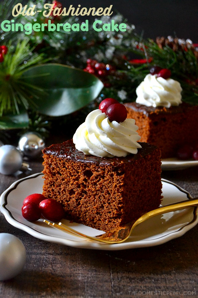 This Old-Fashioned Gingerbread Cake is moist and tender... but it's also PACKED with flavor from rich, syrupy molasses and LOTS of gingerbread spices. A perfect little EASY cake for the holidays!