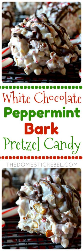 White Chocolate Peppermint Bark Pretzel Candy collage