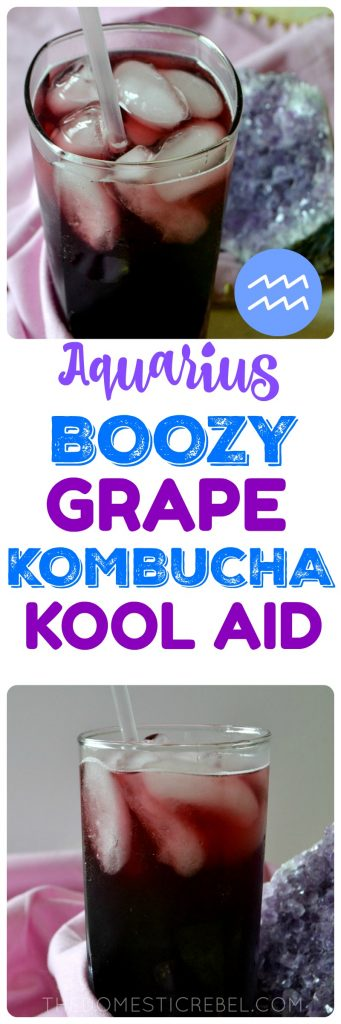 This Boozy Grape Kombucha Kool-Aid is a fun grown-up drink that tastes just like grape punch but made with fizzy, sparkling kombucha! Sweet, fruity, with a hint of tart tangy-ness from the kombucha, it perfectly represents Aquarius in my Zodiac Cocktail series!
