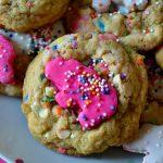 Circus Animal Sprinkle Cookies arranged on white plate