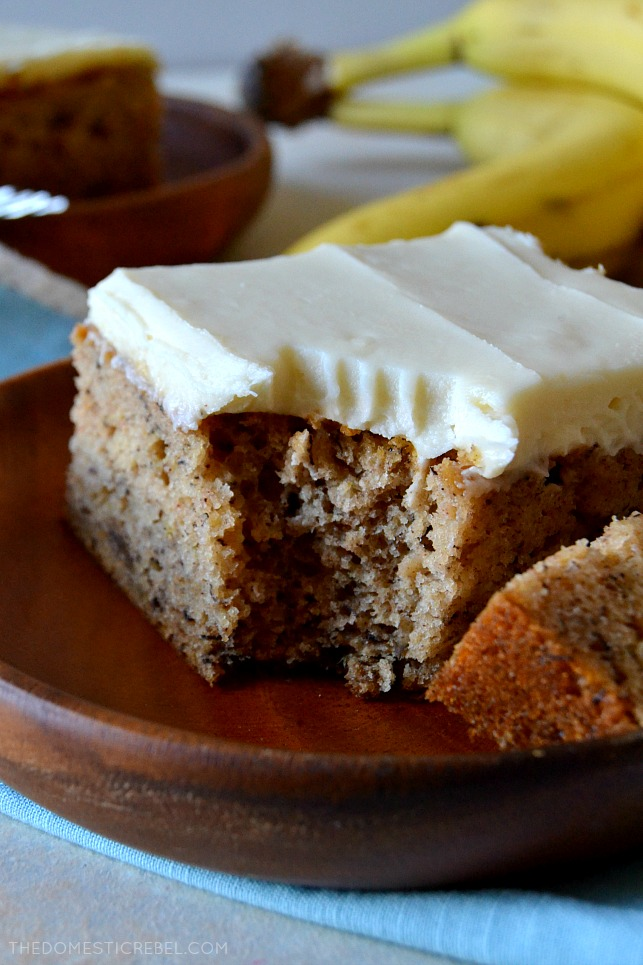This Simply Perfect Banana Cake is a straightforward but delicious banana cake you need in your recipe box! Moist, fluffy, soft and tender with fresh, real banana flavor and a silky cream cheese frosting. So great and it feeds a crowd!