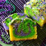 This Mardi Gras Lemon Pound Cake is so festive, moist, bright and zippy with a fun Mardi Gras-inspired swirl! It's made super simple with Krusteaz's Meyer Lemon Pound Cake Mix! #ad