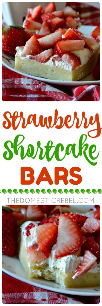 These Strawberry Shortcake Bars are soft, chewy and cakey cookie bars loaded with a light cream cheese whipped frosting and tons of fresh strawberries! Use any kind of fruit you'd like for these sweet, refreshing bars that feed a crowd!