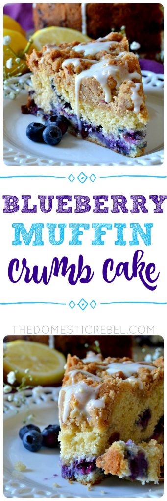 This Blueberry Muffin Crumb Cake is easy, impressive and perfect for brunch or dessert! Moist and soft cake filled with juicy blueberries and topped with a mountain of thick brown sugar crumb with a lemon glaze. So delicious!