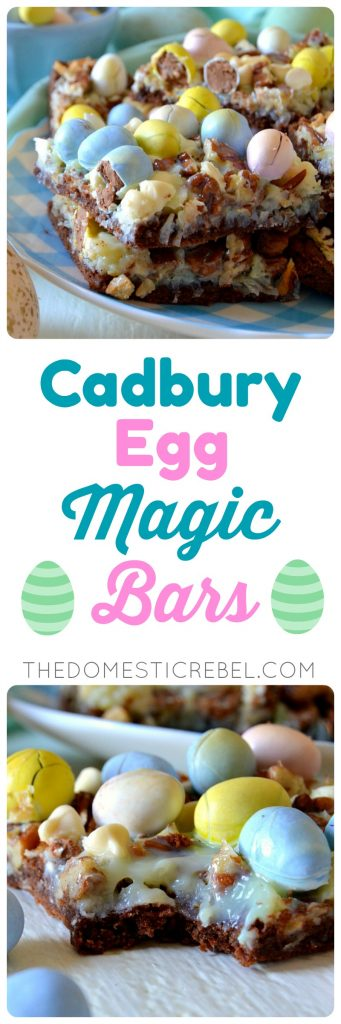 These Cadbury Egg Magic Bars are crunchy, creamy, chewy and gooey with coconut, pecans, white chocolate and Cadbury mini eggs on a fudge brownie crust! Super easy, comes together quickly and they're so perfect for Easter and springtime celebrations!