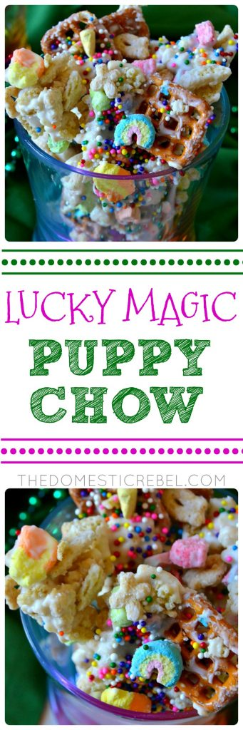 This Lucky Magic Puppy Chow is addictive, easy and feeds a huge crowd! Chock-full of Lucky Charms, pretzels, and mini cereal marshmallows, it's coated in a sweet white chocolate coating and makes a great party food or snack!