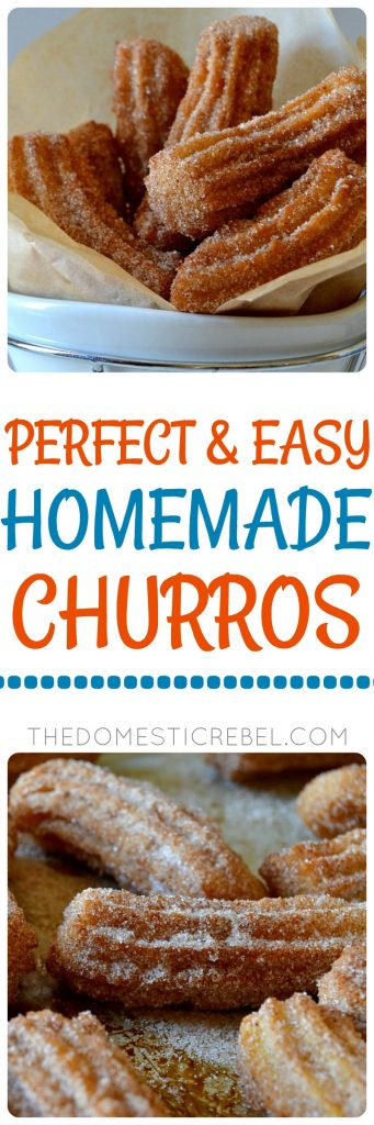 These Perfect & Easy Homemade Churros are light and crispy with soft, fluffy interiors and an amazing cinnamon sugar flavor! You won't believe how simple these are to make, too! Perfect for Mexican food night, Cinco de Mayo or parties!