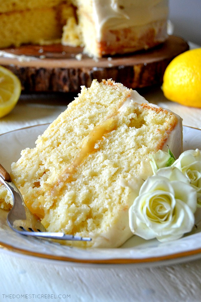 This recipe for Lemon Cake is the BEST EVER! Moist and tender homemade lemon cake with a stick-to-your-fork crumb, a juicy lemon curd filling and a light and luscious lemony cream cheese frosting! Easy, fast, impressive and delicious!
