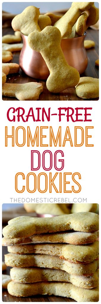 These Grain-Free Homemade Dog Cookies are super simple, come together in minutes and are perfect for pups with allergies! Made with banana, coconut flour, chickpea flour, eggs, and peanut butter, they taste great, too!