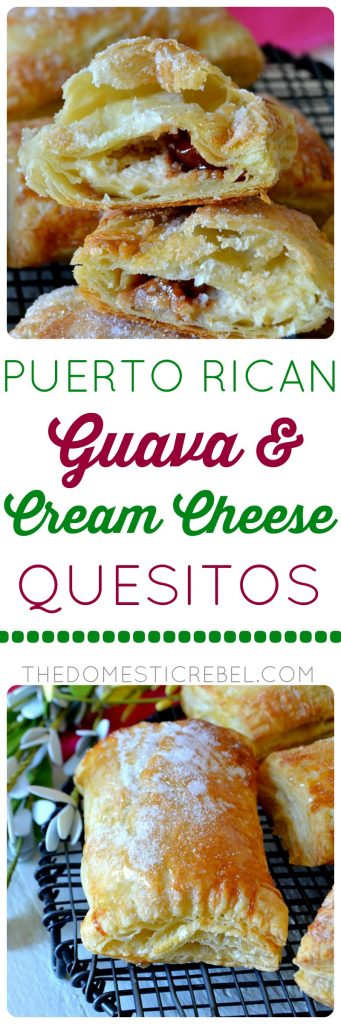 These Puerto Rican Guava & Cream Cheese Quesitos are like flaky cheese danish pastries but made with tart, tangy guava paste and sweetened cream cheese in every sugary bite! You'll love these easy, fast pastries for breakfast, brunch, or dessert!