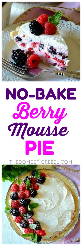This No-Bake Berry Mousse Pie is absolutely delicious and simple, too! Light, fluffy and sweet berry and zesty lemon mousse filling in a buttery shortbread crust and topped with fresh whipped cream! You'll love this dreamy, no-bake pie!