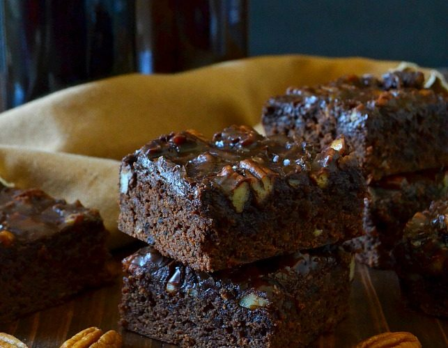 Beer-Spiked Brownies with Poured Pecan Frosting