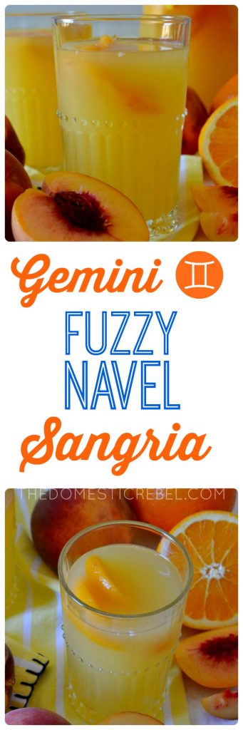 This Fuzzy Navel Sangria is effervescent, refreshing, and comes together quickly with only three ingredients! It can be easily doubled and is perfect for get-togethers with chatty, bubbly Geminis! This Gemini cocktail in my Zodiac Cocktail Series cannot be missed!
