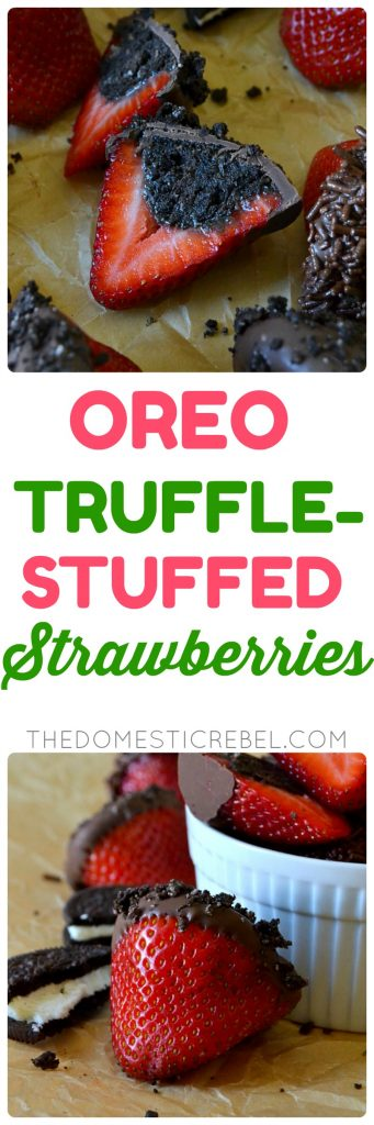 These Oreo Truffle-Stuffed Strawberries will be a huge HIT at your next get-together or party! They come together in minutes, have only four simple ingredients and taste AMAZING! You'll love this easy, no-bake recipe!