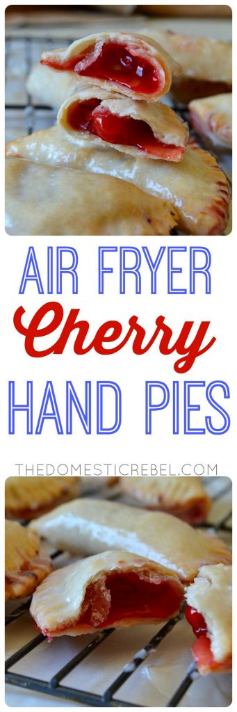 These Air Fryer Cherry Hand Pies are addictive, irresistible, two-bite hand pies filled with juicy cherry pie filling (or any flavor you like!). Made in the air fryer (with a regular oven direction too!), they're crisp and tender and SO easy! You do not want to miss this recipe!