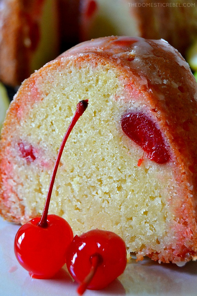 This Shirley Temple Pound Cake is a unique twist on a classic all-butter pound cake! Moist, soft and tender with a dense crumb, it's flavored with lemon lime soda and sweet maraschino cherries for a delightful take on a Shirley Temple!