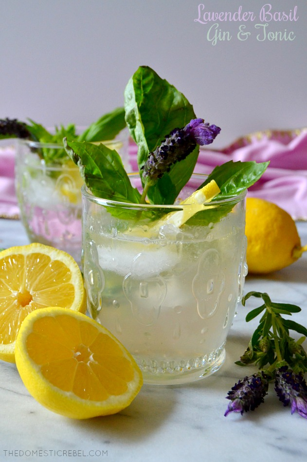 lavender basil gin & tonic with lemon wedges and fresh lavender