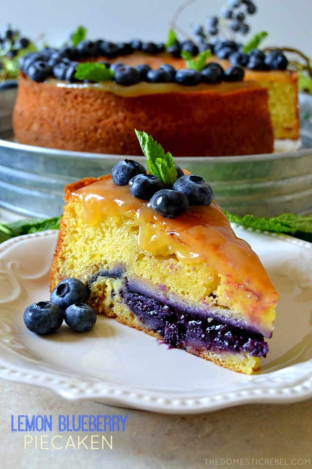 lemon blueberry piecaken on white plate with blueberries and mint