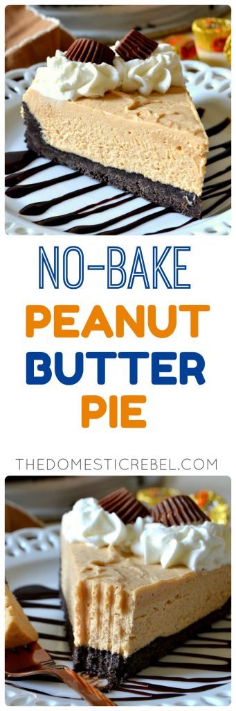 This No-Bake Peanut Butter Pie is a can't miss recipe for the summertime! Rich, creamy, smooth and decadent, it's entirely no-bake and satisfies every sweet craving! You'll love the dreamy peanut butter filling and the buttery Oreo cookie crust in every bite!
