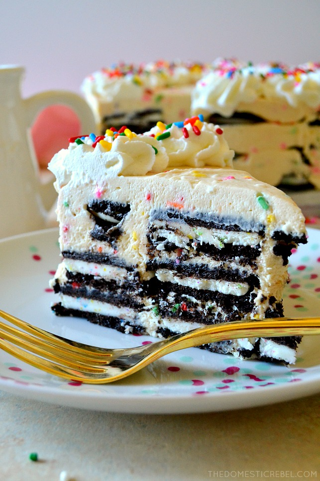 This is the most amazing NO-BAKE Funfetti Oreo Icebox Cake! Layers of birthday cake Oreos and a homemade Funfetti birthday cake mousse make for an ultra easy and super delicious icebox cake everyone will love!