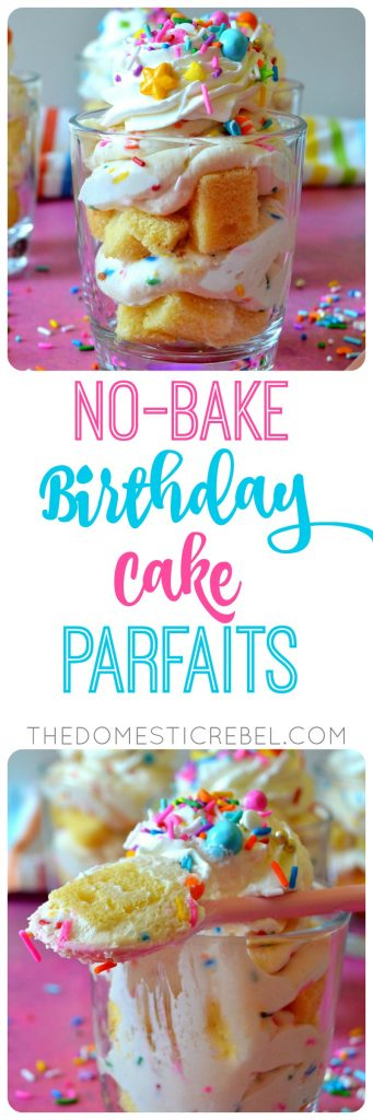 These NO-BAKE BIRTHDAY CAKE PARFAITS are irresistible, easy and SO delicious! Layers of moist cake crumbs and sinfully sweet birthday cake mousse comes together super fast and is great for satisfying your cake craving without even turning on the oven!!