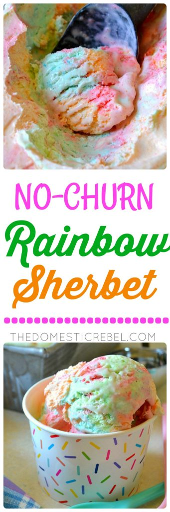 This No-Churn Rainbow Sherbet Ice Cream is SO easy, delicious and made with only 3 ingredients and NO ice cream maker required! Fruity, sweet, colorful and gorgeous, this ice cream will become your new staple!