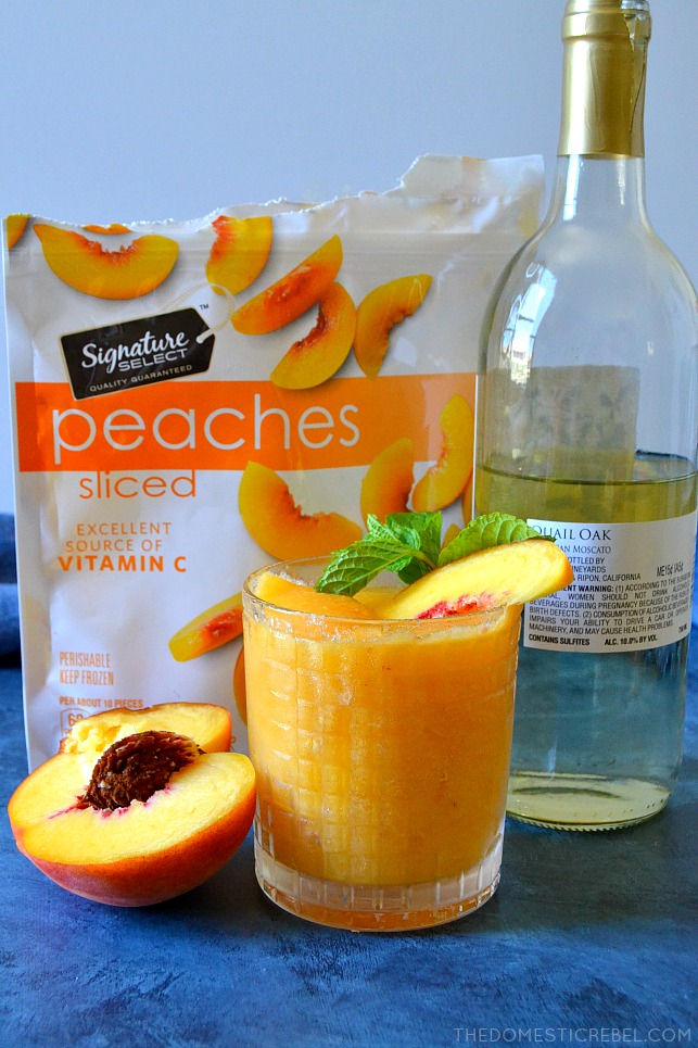 These 2-Ingredient Peach Moscato Slushies are going to be a HIT for your next get-together! Made in SECONDS, they are just TWO ingredients: frozen fruit and wine - for an irresistible, icy cool, refreshing and TASTY slushie beverage!