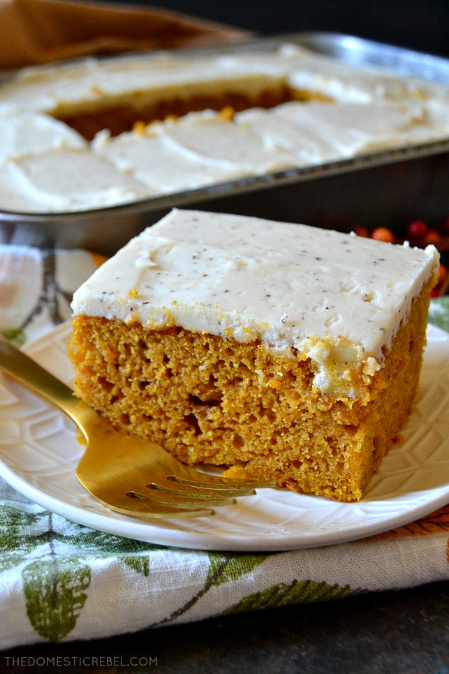 This Best Ever Pumpkin Cake is moist, tender, and perfectly spiced with an addictive, out of this world Brown Butter Maple Frosting! The combination of the pumpkin spice cake and the nutty, toasted brown butter maple icing is to die for!