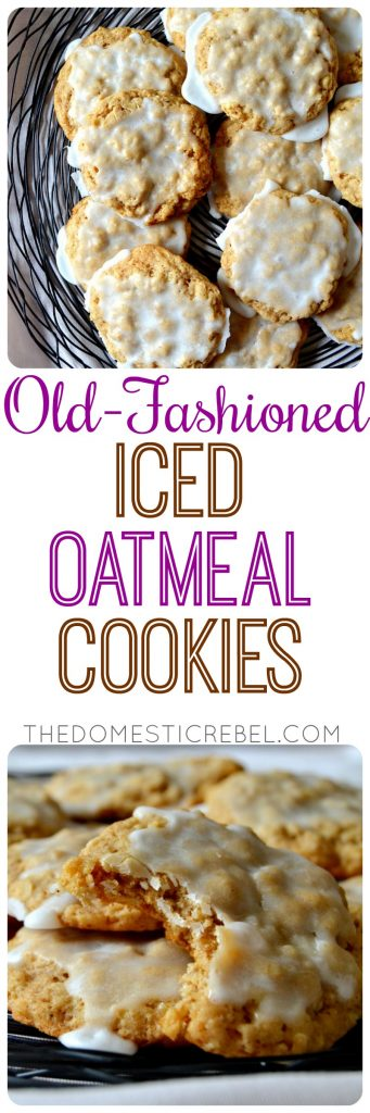 These Old-Fashioned Iced Oatmeal Cookies taste like childhood! Buttery, soft and chewy with hearty oat flavor, crisp outer edges and sweet vanilla glaze on top. So irresistible!