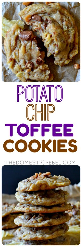 These Potato Chip Toffee Cookies are sweet and salty perfection in one bite! Soft and chewy cookies with crispy potato chips and crunchy toffee bits swirled in every bite. So delicious, unique and decadent!