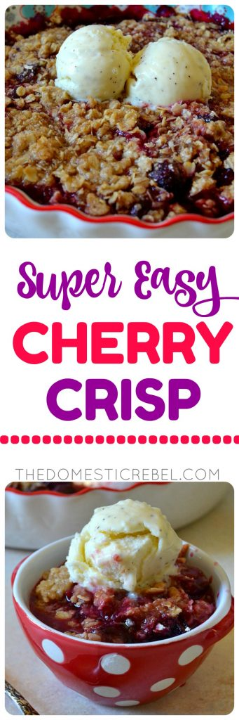This Super Easy CHERRY CRISP will be the hit of all your summertime soirees! Fresh, juicy, dark Washington cherries baked with a buttery, spiced oat crisp topping for a delicious and simple dessert! Don't forget the ice cream!