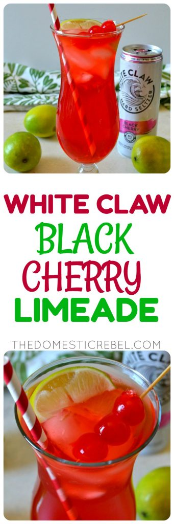 These WHITE CLAW BLACK CHERRY LIMEADES are super simple to make with only four easy ingredients and amazing flavor! Ultra refreshing, really flavorful, and couldn't be faster to whip up!