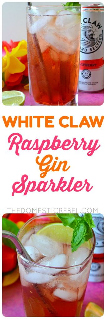 WHITE CLAW RASPBERRY GIN SPARKLERS are super light, fizzy and refreshing cocktails made with raspberry White Claw, gin, raspberry liqueur and lime juice for a super light, sweet and tasty drink!