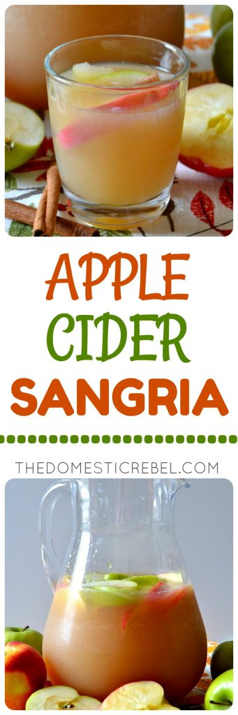 This Apple Cider Sangria is going to be a huge HIT at your next gathering! Sweet, crisp, refreshing and cinnamon-y spiked sangria made with fresh and sparkling apple cider!