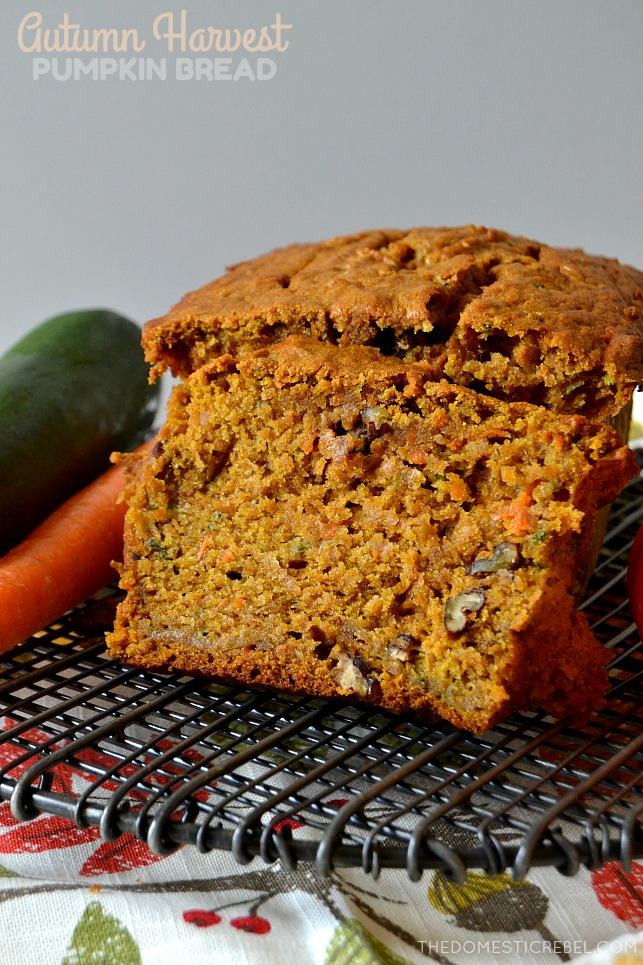 This Autumn Harvest Pumpkin Bread is fantastic! With pumpkin, zucchini, carrots and pecans, this harvest-inspired bread is moist, tender, soft and perfectly spiced! It'll become a new fall family favorite!